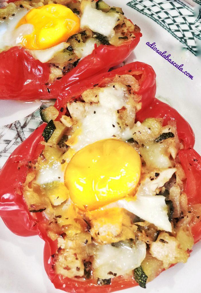 pimientos rellenos con verduritas y huevo